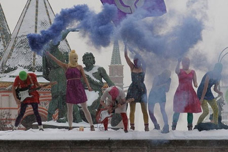 Pussy Riot at Lobnoye Mesto on Red Square in Moscow - Denis Bochkarev