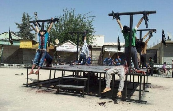 Islamic State Crucifixion of Christians in Syria for Apostasy. Islamic State Social Media—July 2014
