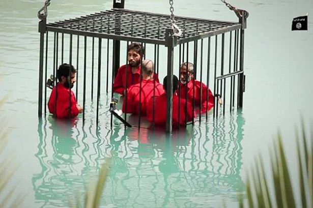Caged Prisoners Lowered into Pool for Drowning in Nineveh, Iraq Underwater Cameras Captured the Final Moments of the Captives.  Islamic State Social Media—June 2015
