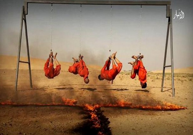 Purported Shia Spies Being Roasted Alive Al Anbar Province, Iraq. Islamic State Social Media September 2015