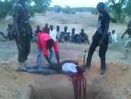 Slitting the Throat of the First of Fourteen Chadian Fishermen on the Shores of Lake Chad. Boko Haram Social Media—July 2015